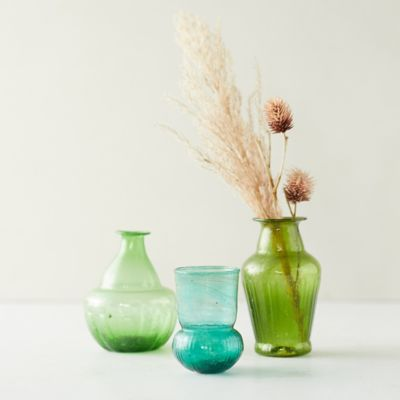 Recycled Glass Bud Vases, Set of 3