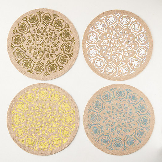 View larger image of Flower Burst Jute Placemats, Set of 4