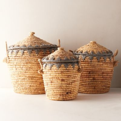 Woven Straw Baskets, Set of 3