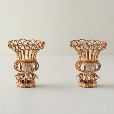 Ornate Iron Tea Light Holders, Set of 2