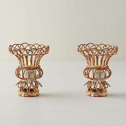 View larger image of Ornate Iron Tea Light Holders, Set of 2
