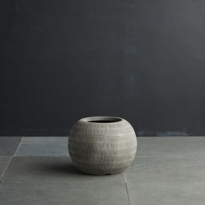 Charcoal Textured Orb Pot, 14""
