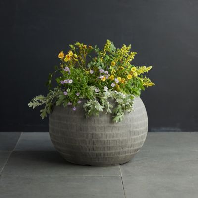 Charcoal Textured Orb Pot, 22""