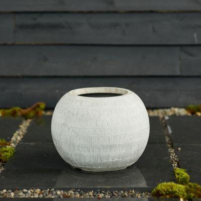 "Neutral Textured Orb Pot, 14"""