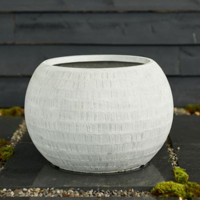 "Neutral Textured Orb Pot, 22"""