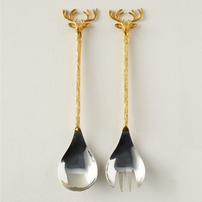 Reindeer Stainless Steel + Brass Salad Servers