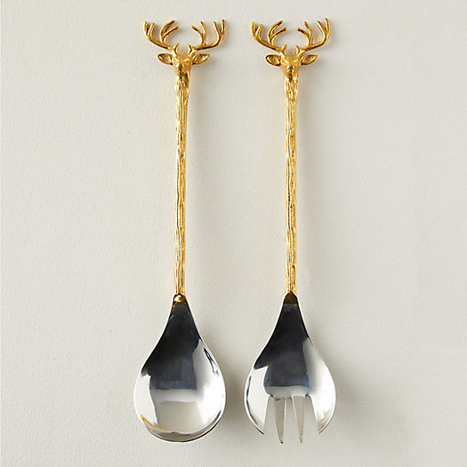 View larger image of Reindeer Stainless Steel + Brass Salad Servers