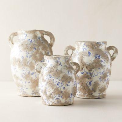 Distressed Blue Ditsy Floral Vase