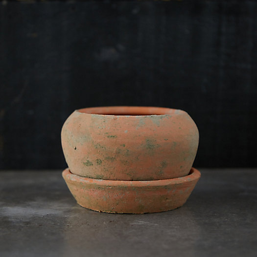 View larger image of Earth Fired Clay Natural Curve Pots + Saucers, 2 Sizes Set
