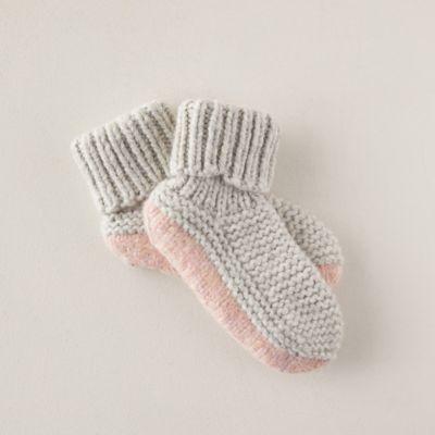 Woven Wool Blend Slipper Socks