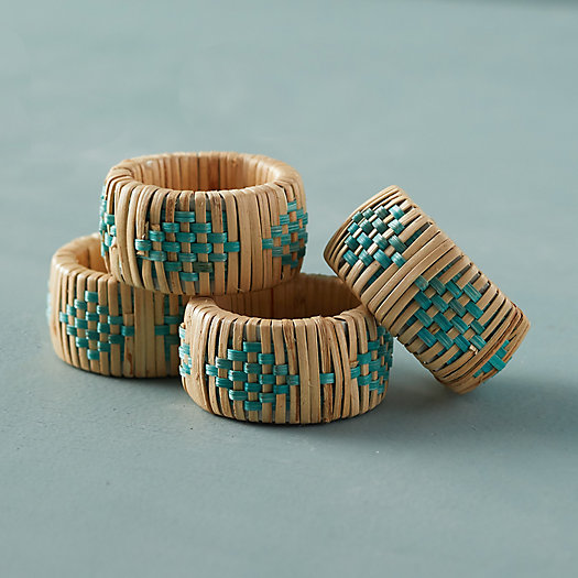 View larger image of Geo Rattan Napkin Rings, Set of 4