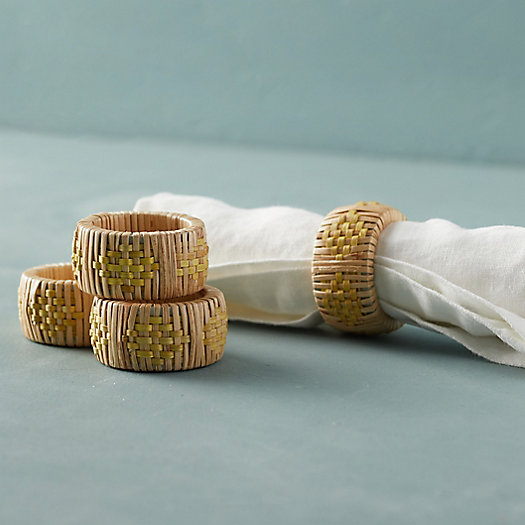 View larger image of Geo Rattan Napkin Rings, Set of 4