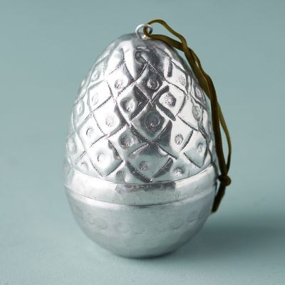 Silver Etched Easter Egg Ornament, Large