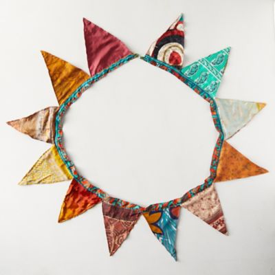 Recycled Sari Fabric Bunting Garland