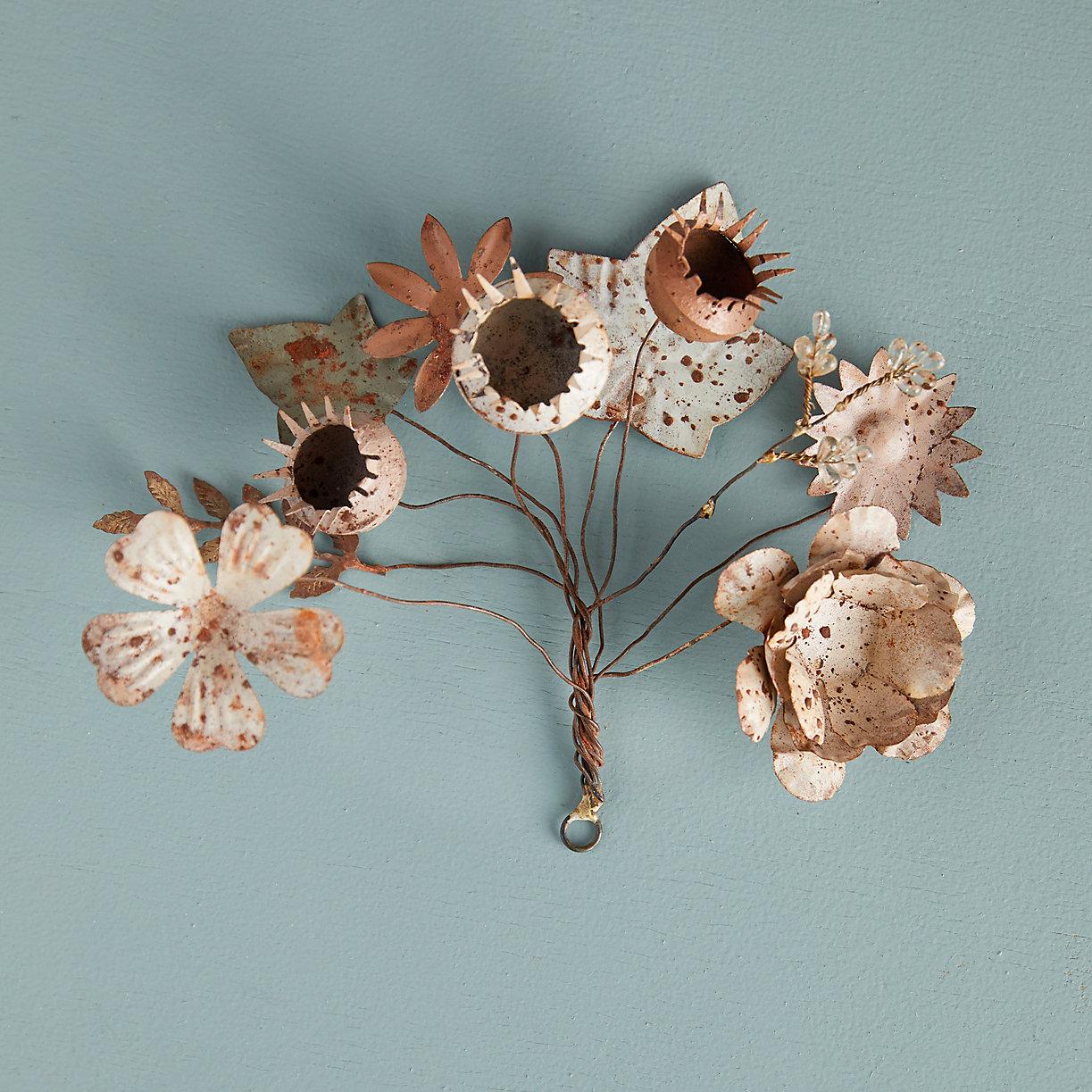 Gilded Iron Glass Floral Bundle Terrain