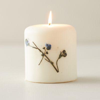 Botanical Pillar Candle, Lavender