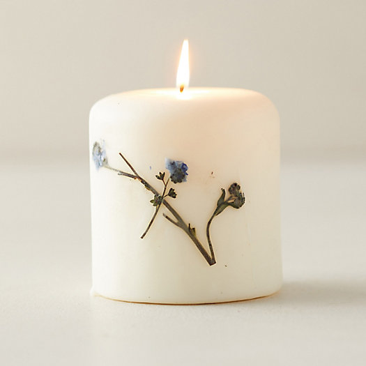 View larger image of Botanical Pillar Candle, Lavender
