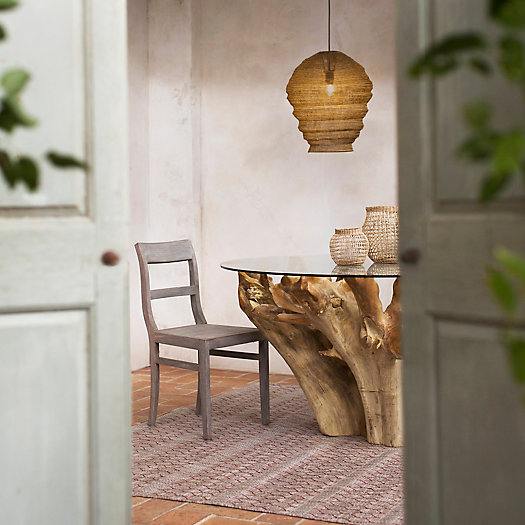 View larger image of Glass Top Teak Root Dining Table