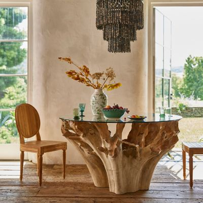 Glass Top Teak Root Dining Table