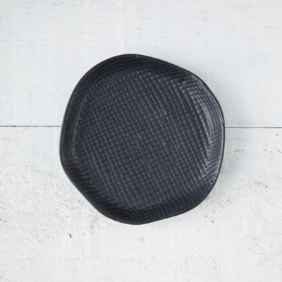 Black Textured Ceramic Plant Tray, Small
