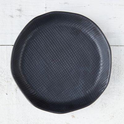 Black Textured Ceramic Plant Tray, Medium