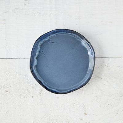 Blue Drip Ceramic Plant Tray, Small