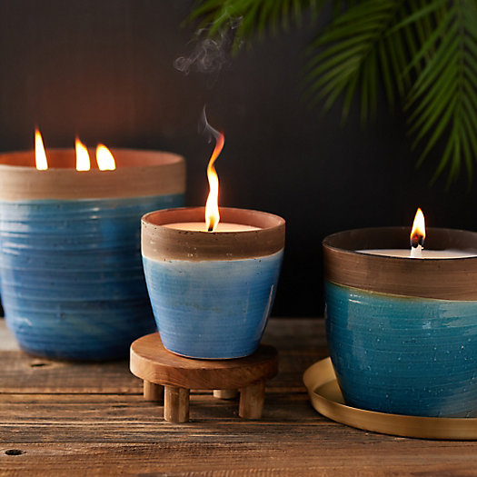 View larger image of Citronella Candle, Blue Dipped Ceramic Vessel
