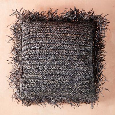 Fringed Raffia Pillow