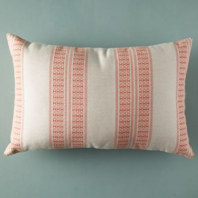 Double Stripe Coral Outdoor Pillow