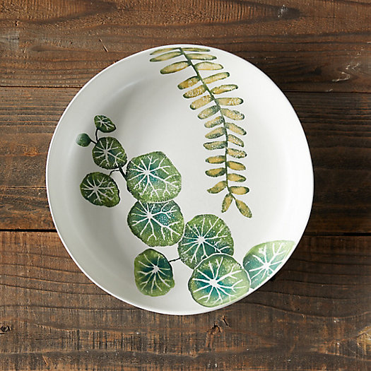 View larger image of Green Leaves Shallow Serving Bowl