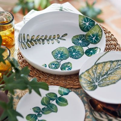 Green Leaves Shallow Serving Bowl