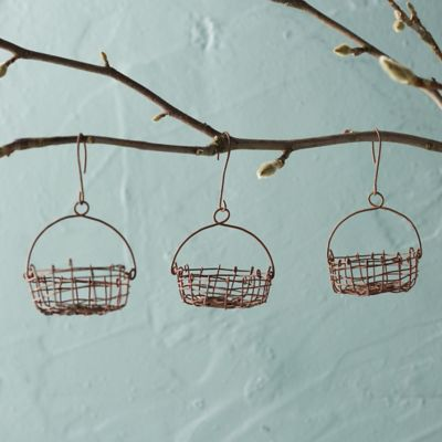 Wire Basket Ornaments, Set of 3