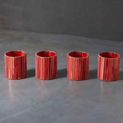 Vertical Red Tea Light Holders, Set of 4