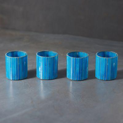 Vertical Teal Mosaic Tea Light Holders, Set of 4