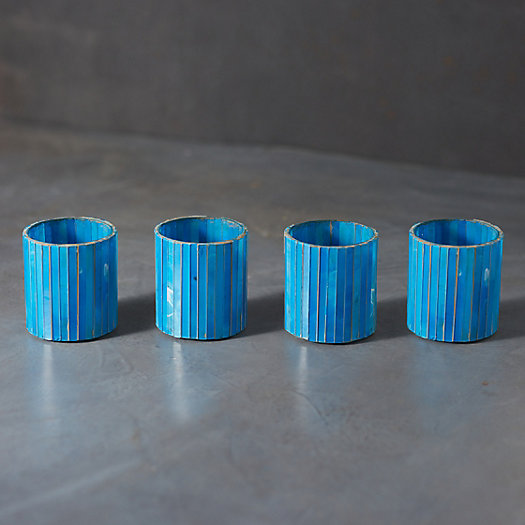 View larger image of Vertical Teal Mosaic Tea Light Holders, Set of 4