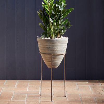 Tapered Ceramic Pot + Stand
