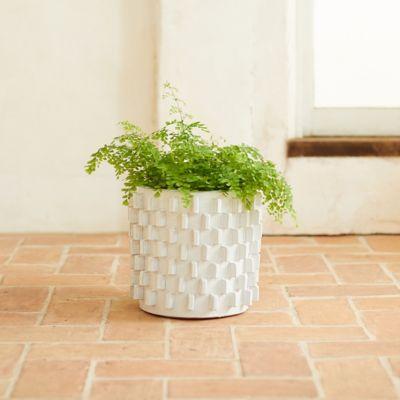"""White Slides Ceramic Pot, 13"""""""