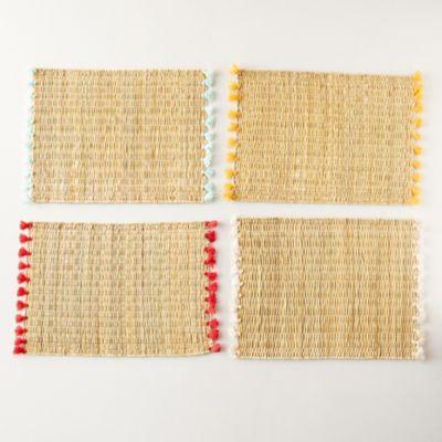 Tassel Raffia Placemats, Set of 4
