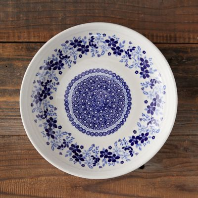 Blue Poppy Edge Ceramic Serving Bowl
