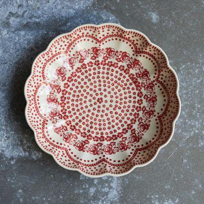 Scalloped Carmine Flowers Bowl