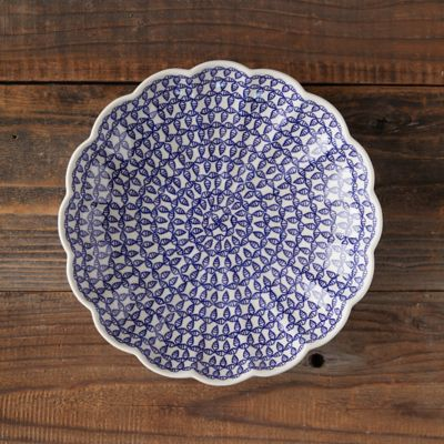 Scalloped Blue Geo Ceramic Bowl