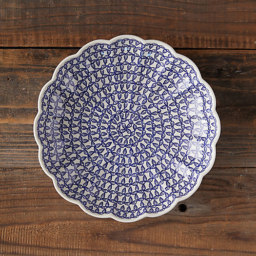 View larger image of Scalloped Blue Geo Ceramic Bowl