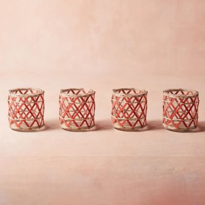 Rattan Votives, Set of 4