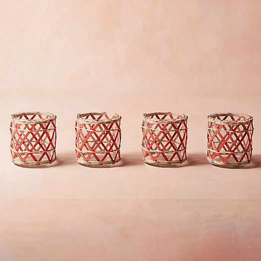 View larger image of Rattan Votives, Set of 4