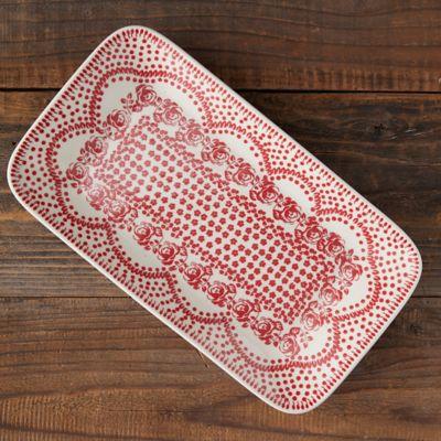 Carmine Dots Ceramic Platter