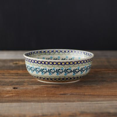 Orange + Blue Florals Ceramic Bowl