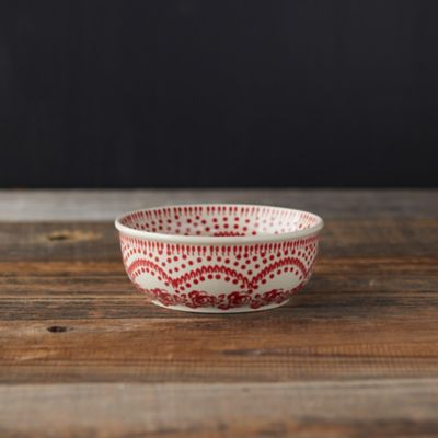 Carmine Flowers Ceramic Bowl
