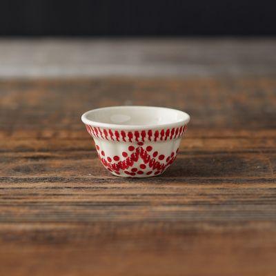 Carmine Dots Ceramic Pinch Bowl