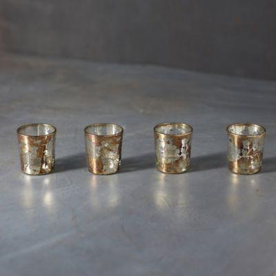 Marbled Gold Foil Tea Light Holders, Set of 4