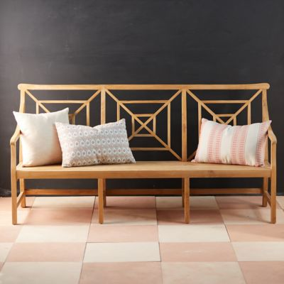 Fretwork Teak Three-Seat Garden Bench
